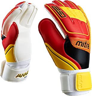 Size 9 Mitre Anza G2 Durable Goalkeeper Gloves Black//Cyan//Yellow