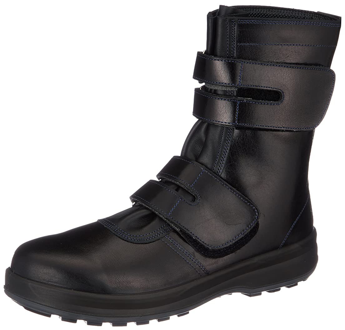 定刻鳴らす名誉[シモン] 安全靴 長編上 JIS規格 耐滑 快適 革製 高級 8538黒