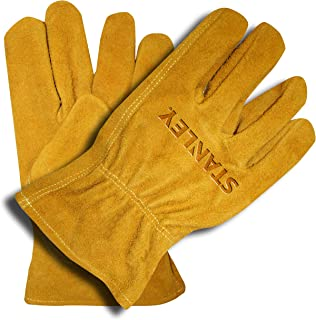 Stanley Multi-Purpose Split Cowhide Leather Work and Driver Gloves with Keystone Thumb - Large