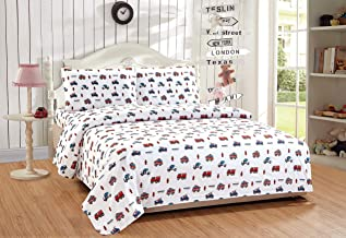 Twin Size 3pc Sheet Set for Kids Heroes Fire Fighter Fire Trucks Police Car Ambulance Paramedic Navy Blue Red White Light Blue Grey Green New