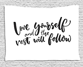 Ambesonne Saying Tapestry, Love Yourself and The Rest Will Follow Motivational Phrase Wisdom Words, Wide Wall Hanging for Bedroom Living Room Dorm, 60