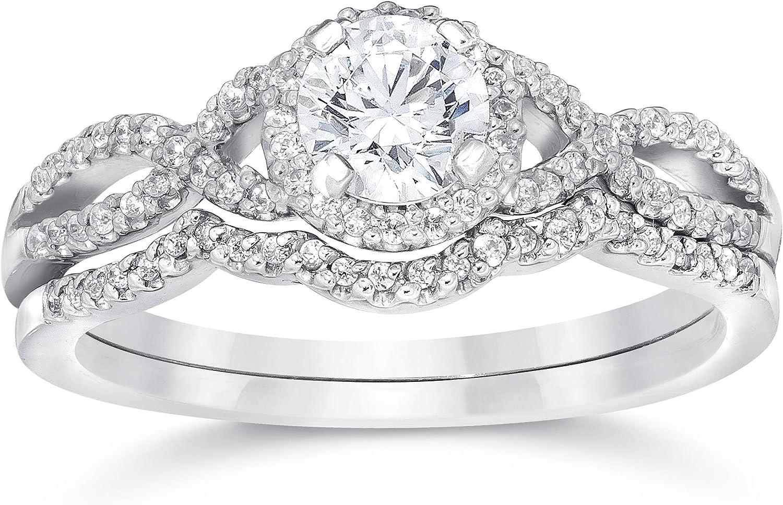 3/4ct Diamond Infinity Engagement Wedding Ring Set White Gold