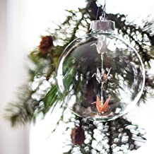 Origami Paper Crane Glass Ornament with White, Silver, and Rose Gold Cranes with Matching Swarovski Crystals
