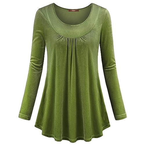 1e00a8b6d86 Gaharu Women s Vintage Long Sleeve Scoop Neck Shirt Pleats Velvet Casual  Tunic Tops