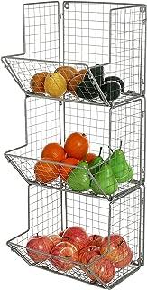 MyGift 3-Tier Gray Metal Wire Wall Mounted Kitchen Produce Fruits Bin Rack, Bathroom Towel Storage Baskets