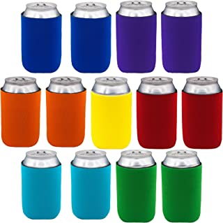 Neoprene Can Sleeves - Pack of 13 Plain Can Cooler Covers Fit 12 oz Cans and 12 to 16 oz Glass & Aluminum Bottles. Premium Neoprene & Stitching by Impirilux (13, Multi Color)