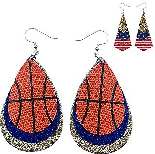 Double-Sided Statement Earrings Lightweight NCAA College NBA Basketball Dangle Earrings College Faux Leather Basketball Fan