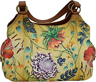 Women's Genuine Leather Large Triple Compartment Hobo - Hand Painted Exterior