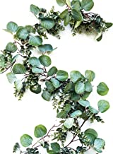 Eucalyptus Garland Greenery- Full Natural Looking 6.5 foot Faux Artificial Garland Eucalyptus for Wedding, Table Runner, Mantle, Farmhouse, Rustic with Textured Boxwood, Twig Vines Green Garlands