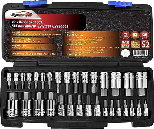 EPAuto 32 PCs Hex Bit Socket Set, SAE and Metric, S2 & Cr-V Steel