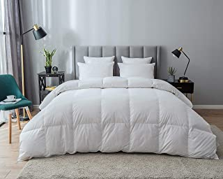 Eastwarmth Down Comforter All Seasons Full/Queen Size 100% Organic Cotton, Warm Soft Goose Down Duvet Insert White Color