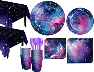 Party City Galaxy Tableware Kit and Supplies for 32 Guests, Includes Plates, Cups, and More