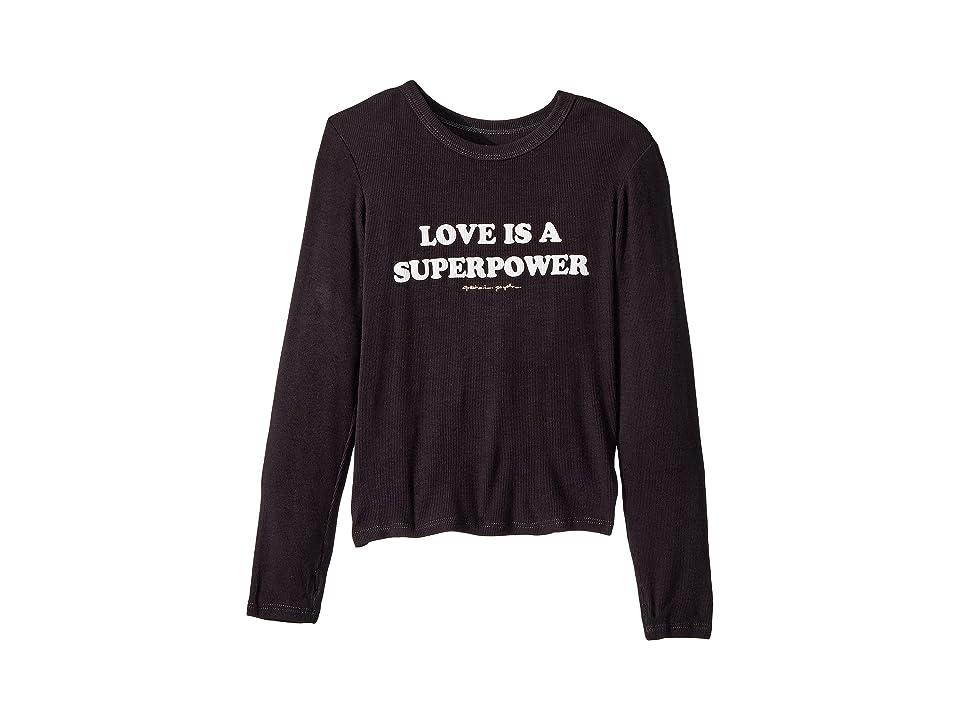 Spiritual Gangster Kids Superpower Long Sleeve Tee (Toddler/Little Kids/Big Kids) (Vintage Black) Girl's T Shirt