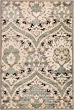Superior Elegant Augusta Area Rug, Floral Scalloped Contemporary Pattern, 2' x 3', Light Blue