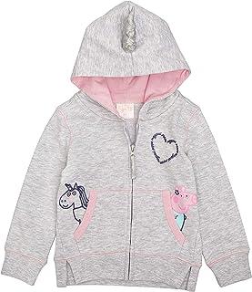 Peppa Pig Unicorn Zip Up Hoodie-Gray (Light Grey/Pink, 4T)