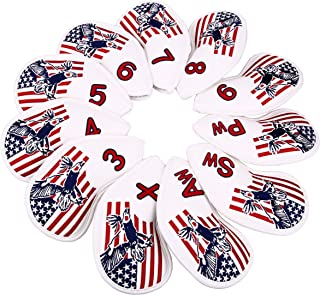 11Pcs Golf USA Eagle Iron Head Cover Thick Synthetic Leather Fit All Brands Golf Builder