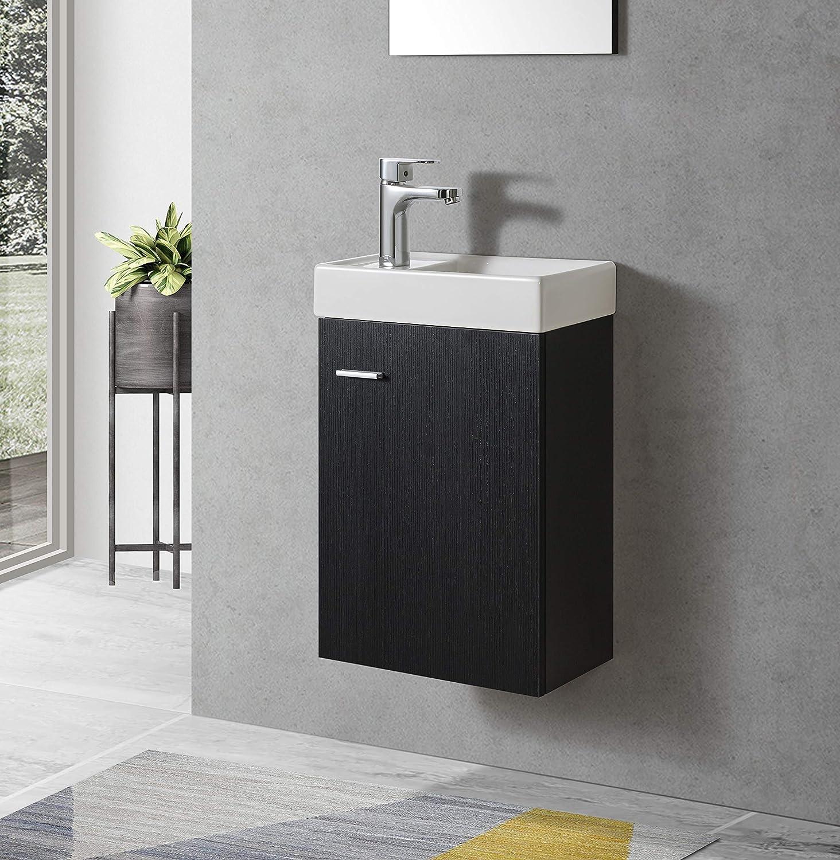 Badmbel Unterschrank VISITO 40 in schwarz inkl. Waschtisch