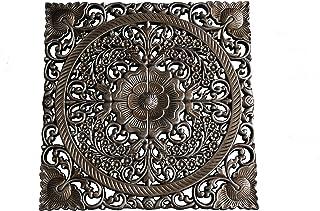DONREGALOWEB Mandala Plateado de Madera 40x40 cm