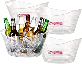 Zilpoo 4 Pack - Plastic Oval Storage Tub, Wine, Beer Bottle Drink Cooler, Parties Ice Bucket, Party Beverage Chiller Bin, Baskets, 4.5L, Clear