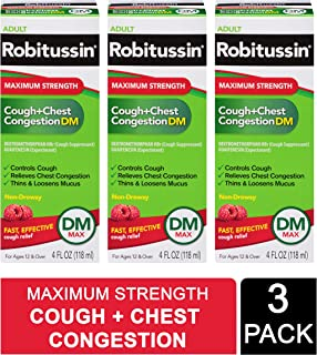 Robitussin Adult Maximum Strength Cough + Chest Congestion Dm Max (3 Pack of 4 Fl. Oz. Bottles) Non-drowsy Cough Suppressant & Expectorant, Raspberry Flavor