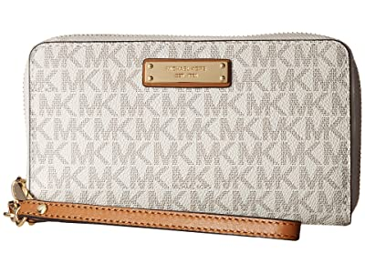 MICHAEL Michael Kors Wristlets Large Flat Multifunction Phone Case (Vanilla) Wallet