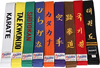 Redox Personalized Customized Embroidery Black Belt, Color Belt Solid Rank Martial Arts, Karate, Taekwondo, Judo, Jiu Jitsu Width 1.6inch Belt