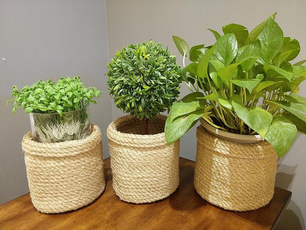 Jute Planter Baskets -3 pcs- Jute Storage Baskets Storage Bin Plant Holders Flower Baskets Rope Basket Natural Fiber Basket, Plant Pot Cover Basket vmugiaqzocsavn