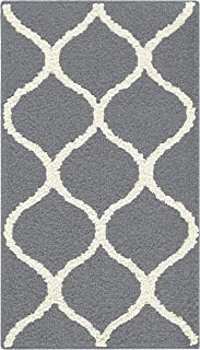 Maples Rugs Rebecca 1'8 x 2'10 Non Skid Small Accent Throw Rugs [Made in USA] for Entryway and Bedroom, Grey/White