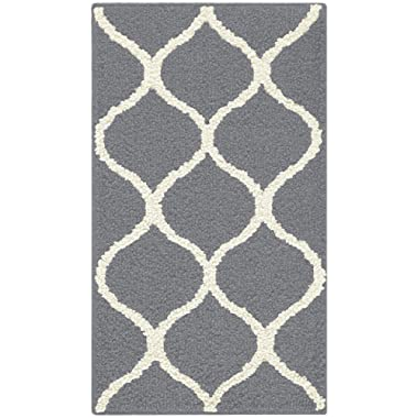 Maples Rugs Rebecca Contemporary Kitchen Rugs Non Skid Accent Area Carpet [Made in USA], 1'8 x 2'10, Grey/White