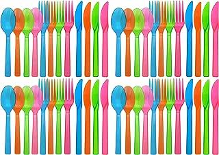 neon plastic cutlery