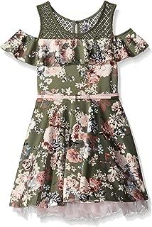 Beautees Big Girls' Cold Shoulder Floral Print Skater Dress
