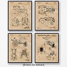 Original John Deere Tractor Patent Poster Prints, Set of 4 (8x10) Unframed Photos, Wall Art Decor Gifts Under 20 for Home, Office, Man Cave, Shop, Student, Teacher, Cowboys, Ranch, Farm, Garden Fan