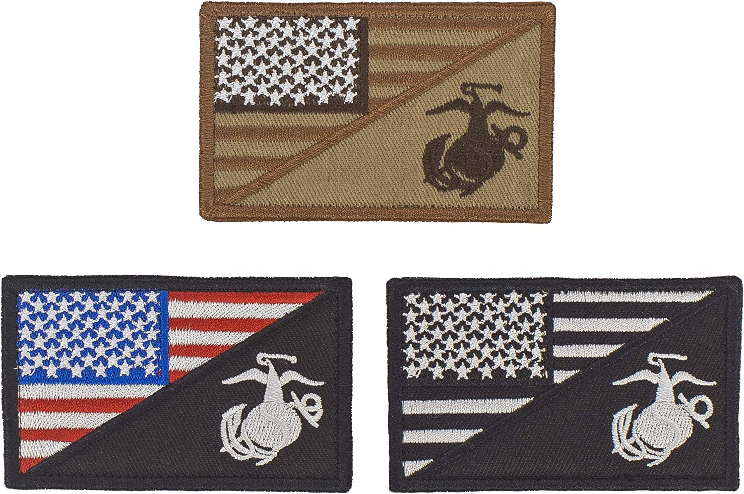 Set of 3 Patch Raleigh Mall Military Loop Flag Over item handling ☆ Patches Hook American