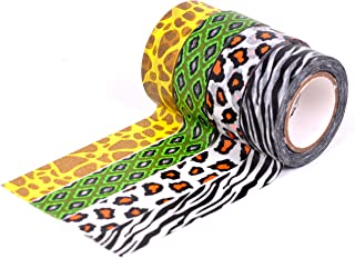 HiArt Repositionable Washi Tape, Animal Print Collection Wild at Heart, Set of 4