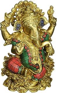 Rare God Ganesha Statue Sitting on Lotus- Hindu Lord of Prosperity & Fortune Ganesh Figurine- Brass Metal with Turquoise I...