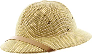Milani Straw Pith Helmet Outdoor Hat with Adjustable Headband for Jungle Safari Explorer Costume