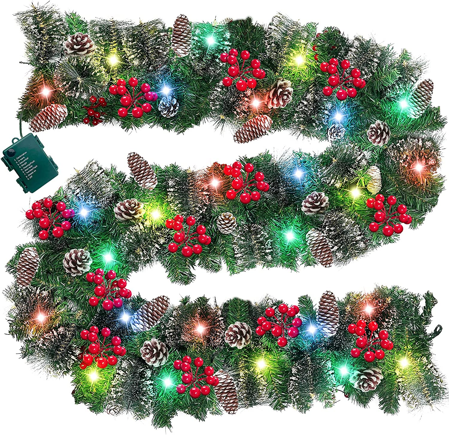 TURNMEON 9 Ft Prelit Artificial Christmas Garland Decor Timer 100 Lights 8 Modes Berry Snowy Bristle Pinecone Battery Operated Xmas Christmas Decoration Mantle Fireplace Home Indoor Outdoor,Color