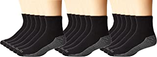 Dickies Men's 6 Pack Dri-Tech Comfort Quarter Socks, Black, 18 Pair