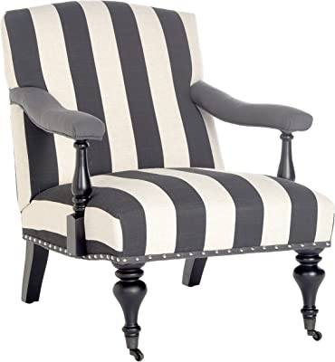 Safavieh Mercer Collection Devona Black and White Stripe with Silver Nailheads Arm Chair