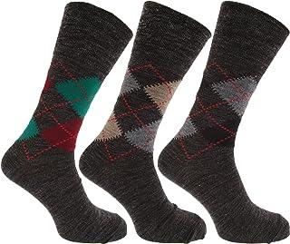 Calcetines con mezcla de lana de corderos Estampado a rombos tradicional sin elástico hombre caballero (Pack de 3)