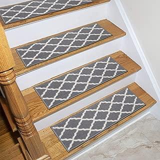 Ottomanson Glamour Collection Trellis Design Stair Tread, 8.5
