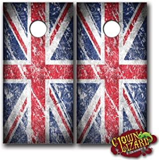 CL0021 UK Great Britain British Flag Distressed CORNHOLE LAMINATED DECAL WRAP SET Decals Board Boards Vinyl Sticker Stickers Bean Bag Game Wraps Vinyl Graphic Image Corn Hole