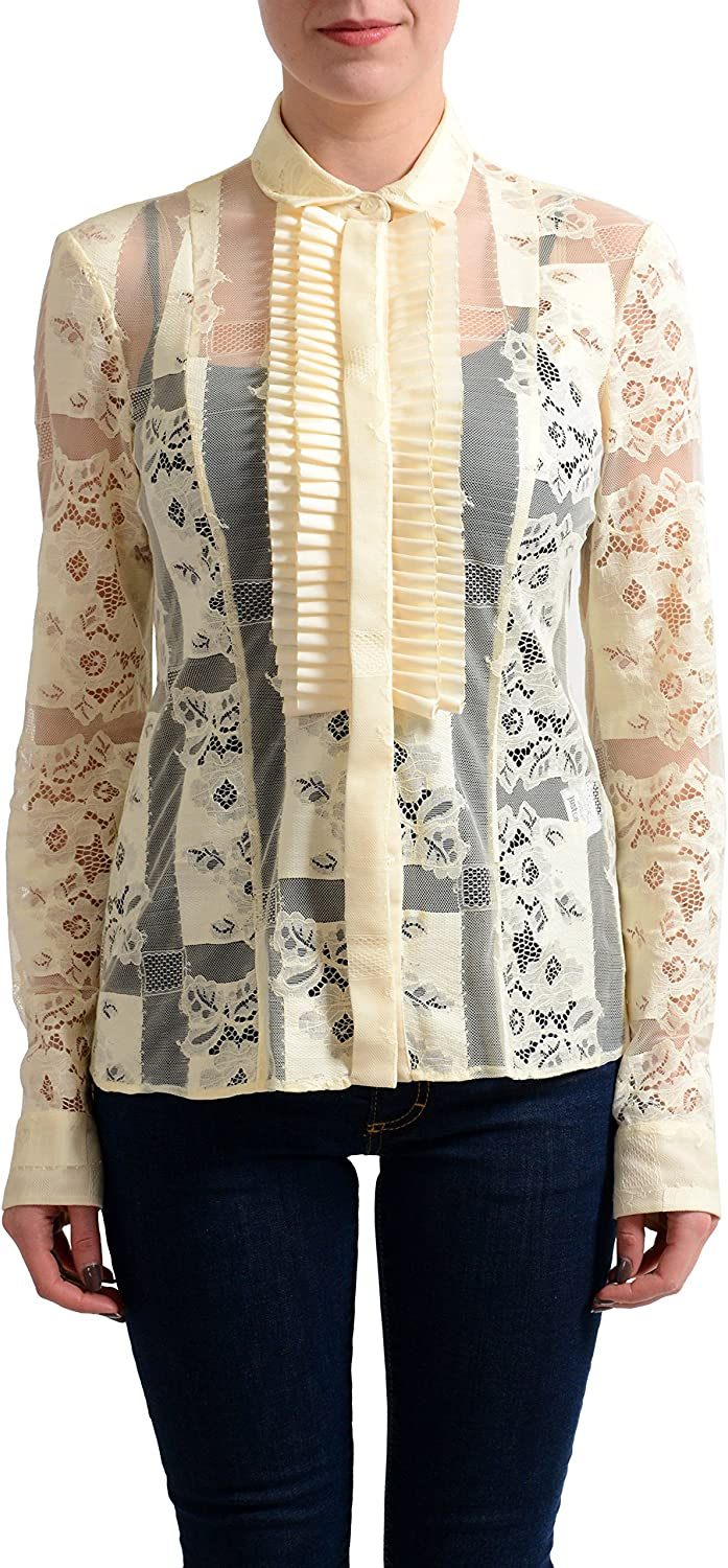 Just Cavalli Women's Cream Lace See Through Blouse Top US S IT 40