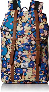 Herschel Retreat Backpack, Painted Floral/Tan Synthetic Leather, Mid-Volume 14.0L
