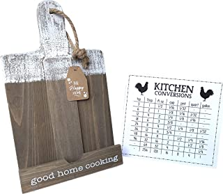 Distressed Wood Cookbook or Tablet Holder and Laminated Kitchen Conversion Chart