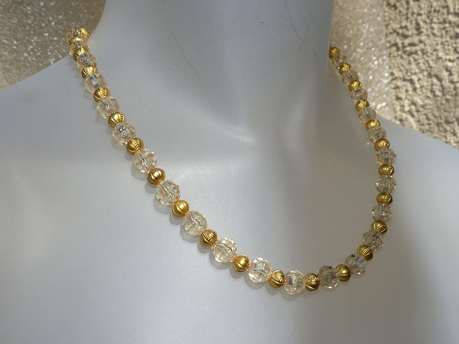 Bombing new work Sparkling Omaha Mall clear and gold bead tone necklace
