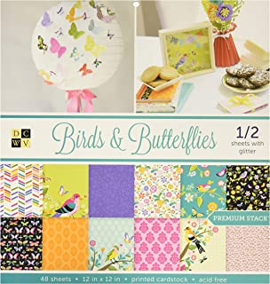 "DCWVE DCWV Premium Stack-12 x 12-Single-Sided-Birds and Butterflies-Glitter-48 Seats PS-002-00011, 12"" x 12"""