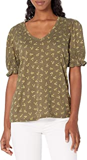 Lucky Brand Women's Puff Sleeve V Neck Embroidered Top Shirt