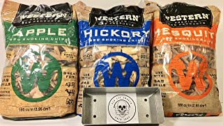 Western Perfect BBQ Smoking Wood Chips Variety Pack - Bundle (3) - Most Popular Flavors - Apple, Hickory & Mesquite w/Free...
