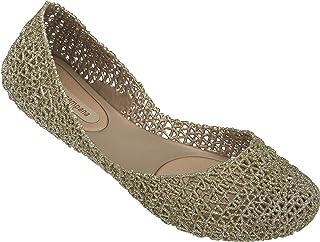 Melissa Women's Campana Papel VII Ballet Flats, Gold Glitter, 8 US